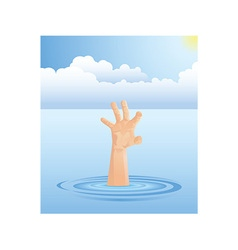 Drowning hand vector