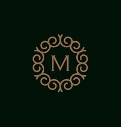 Elegant monogram letter m logo design template 3 vector