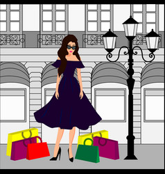 fashion girl at shopping vector image