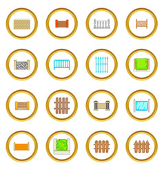 Fencing modules icons circle vector
