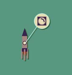 Flat icon design rocket illuminator in sticker vector