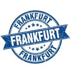Frankfurt blue round grunge vintage ribbon stamp vector