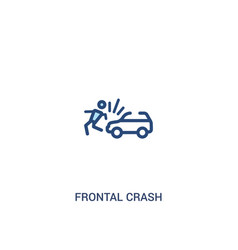 Frontal crash concept 2 colored icon simple line vector