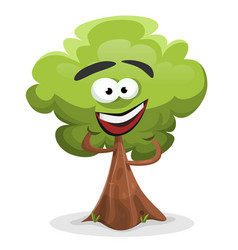funny cartoon tree character vector image