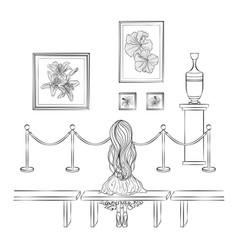 Girl in museum vector