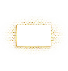 Golden rectangle frame with glitter background vector