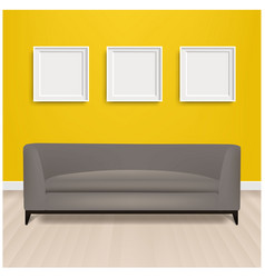 grey sofa bed with and picture frame and yellow vector image