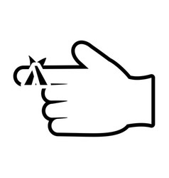 Hand with injured finger icon line style vector