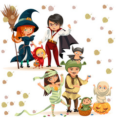Happy family in halloween costumes poster vector