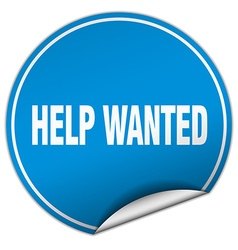 Help wanted round blue sticker isolated on white vector