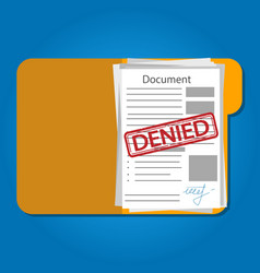 Illstration denied document on blue vector