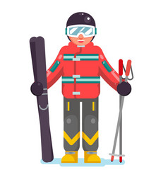 isolated skier mountain winter mountains vacation vector image
