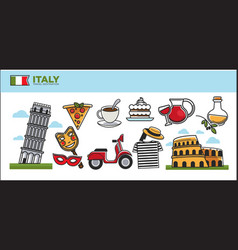 Italy travel destination promotional poster with vector