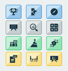 job icons set with planning board compass vector image