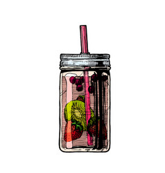 lemonade in mason jar vector image