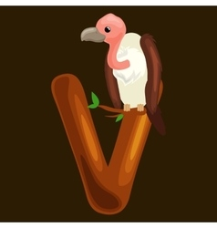 letter V with vulture animal for kids abc vector image