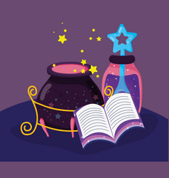 Magic book with mystery potion and cauldron vector