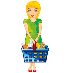 Making look younger girl with product in basket vector