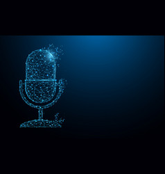 microphone form lines triangles and particle vector image