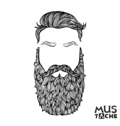Mustache beard and hair style hipster vector