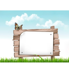 Nature background with green grass and wooden tag vector