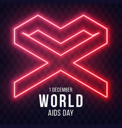 Neon world aids day 1 december red geometric loop vector