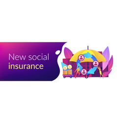 Peer-to-peer insurance concept banner header vector