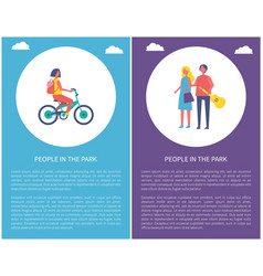 people in park posters couple walks girl ride bike vector image