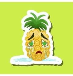 Pineapple Crying With Tears Running Down Cute vector image vector image