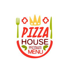 pizza house ppremium menu logo template design vector image