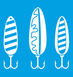 Plastic fishing lure icon white vector