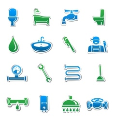 Plumbing tools sticker collection vector image