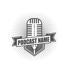 podcast badge logo design template vector image
