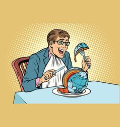 Politician eats the planet vector