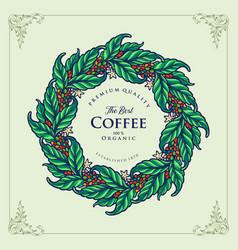 premium logo best coffee organic vector image