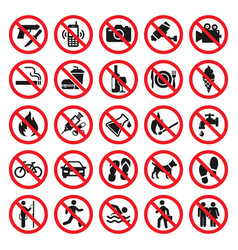 prohibitions signs red prohibited icons set vector image