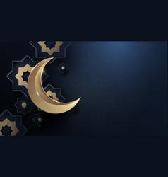 Ramadan kareem gold moon and abstract luxury vector