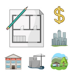 Realtor agency cartoon icons in set collection vector