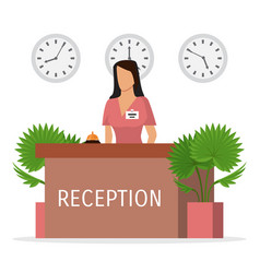 Reception a hotel with woman receptionist vector
