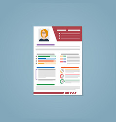 Resume with a red strip vector