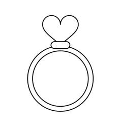 romance rings love heart wedding symbol outline vector image