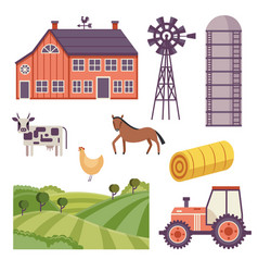 Rural ranch design elements set vector