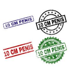 scratched textured 10 cm penis stamp seals vector image