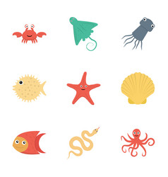 sea animals flat icons vector image