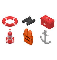 sea safety icons set isometric style vector image