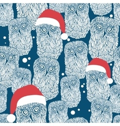 Seamless background with polar owls in christmas vector image