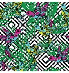 Seamless exotic pattern with colibri and palm vector image