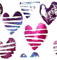 Seamless pattern with grunge hearts vector image
