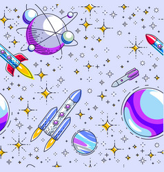 seamless space background with rockets planets vector image