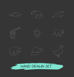 set of animal icons line style symbols with duck vector image